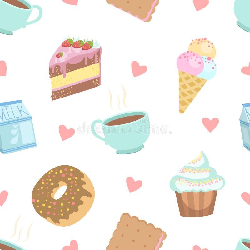 Śliczni desery Bezszwowy wzór, tort, babeczka, pączek, ciastko, lody, filiżanka kawy projekta element Mogą Używać dla ilustracja wektor