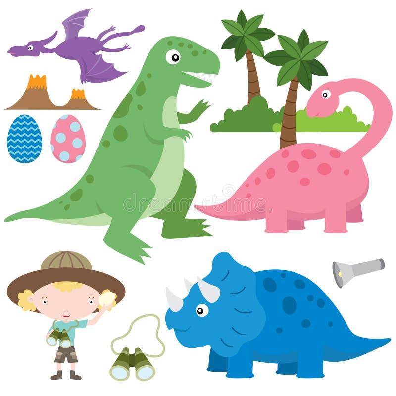śliczni dinosaury ilustracji