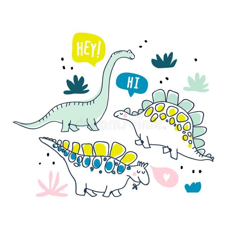 Śliczni dinosaury i zwrotnik rośliny ilustracji