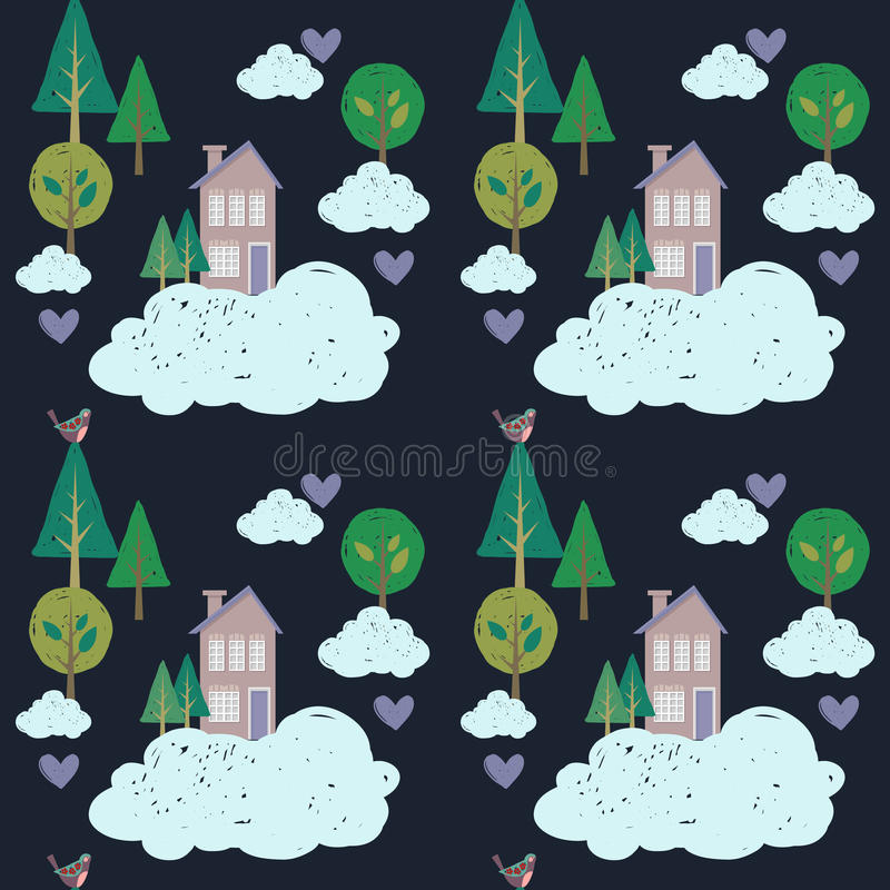Śliczni domy, chmury i drzewa, Wektorów dzieciaków wzór royalty ilustracja
