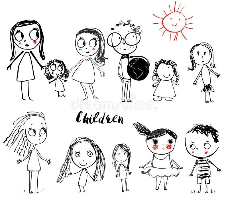 Śliczni doodle dzieci ilustracja wektor