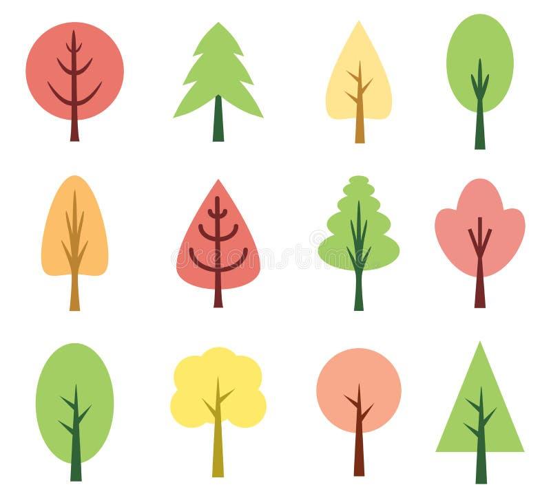 śliczni drzewa ilustracja wektor