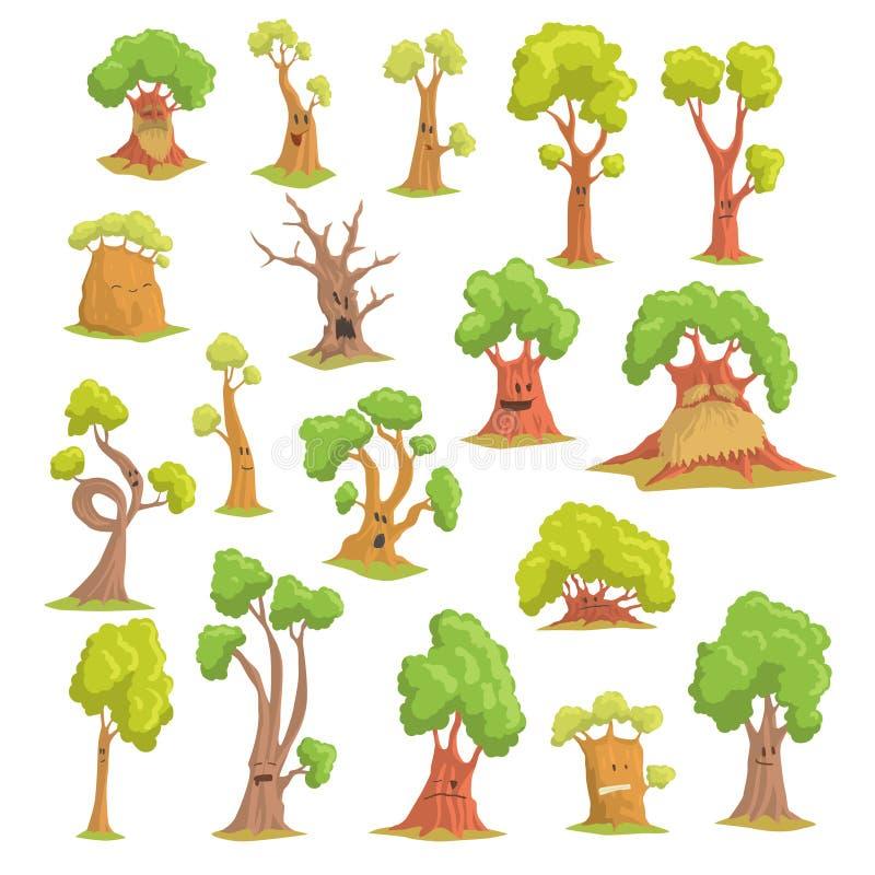 Śliczni drzewni charaktery ustawiają, śmieszni zhumanizowani drzewa z różna kolorowa ręka rysować emocj wektorowymi ilustracjami ilustracji