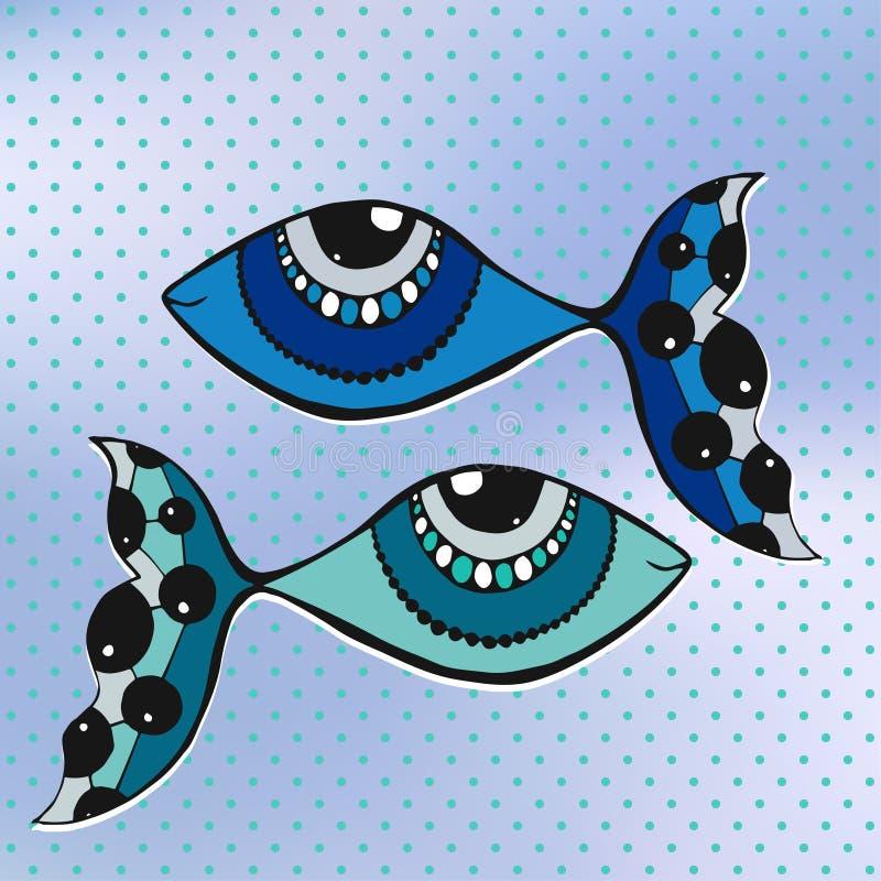 Śliczni dwa rybia kreskówka, kreskowa sztuka, doodle na brulled i polki kropki tle również zwrócić corel ilustracji wektora royalty ilustracja