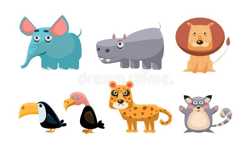Śliczni dzicy Afrykańscy zwierzęta ustawiają, lew, hipopotam, słoń, pieprzojad, łysy orzeł, tygrys, myszy wektorowa ilustracja na ilustracji