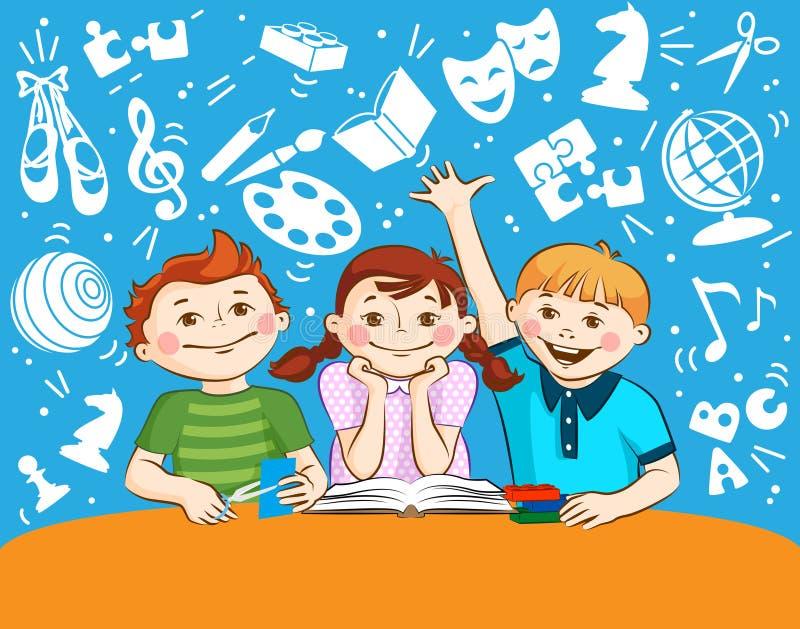Śliczni dzieci bawić się z blokami, czytanie, ciąć papier royalty ilustracja