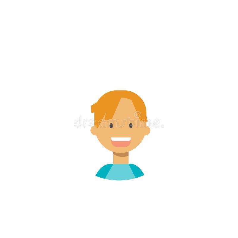 Śliczni dzieci stawiają czoło szczęśliwego dziewczyna portret na białym tle, żeński avatar mieszkanie ilustracja wektor