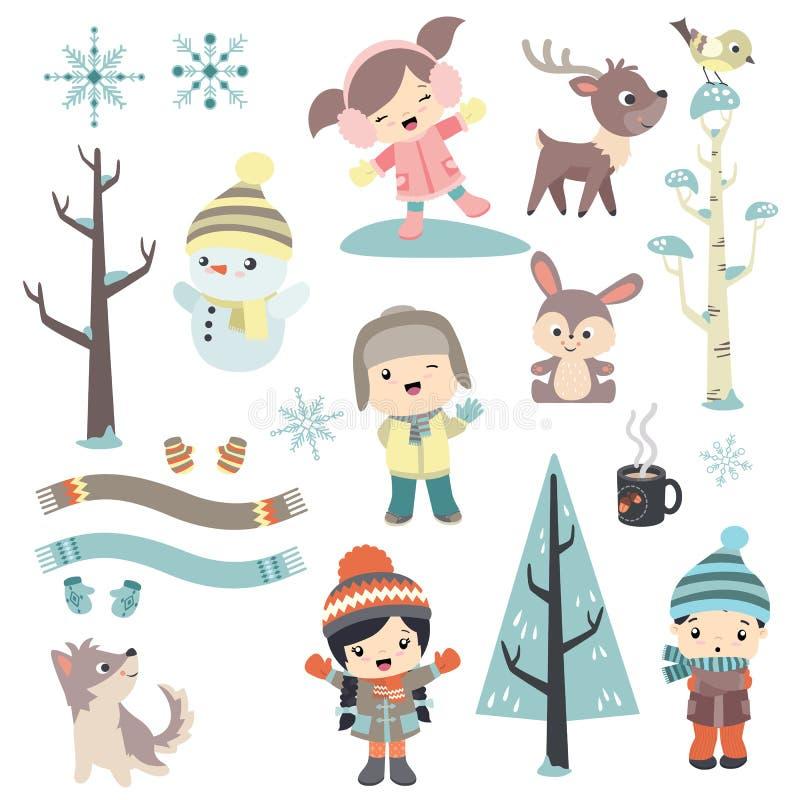 Śliczni dzieci w zima czasie royalty ilustracja