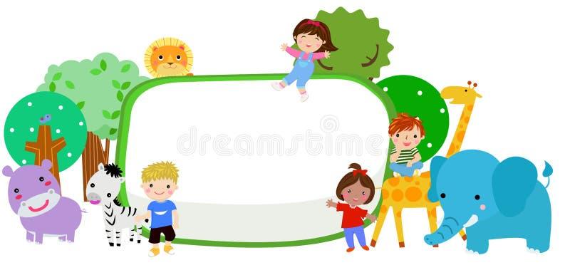 Śliczni dzieciaki i zwierzęta royalty ilustracja