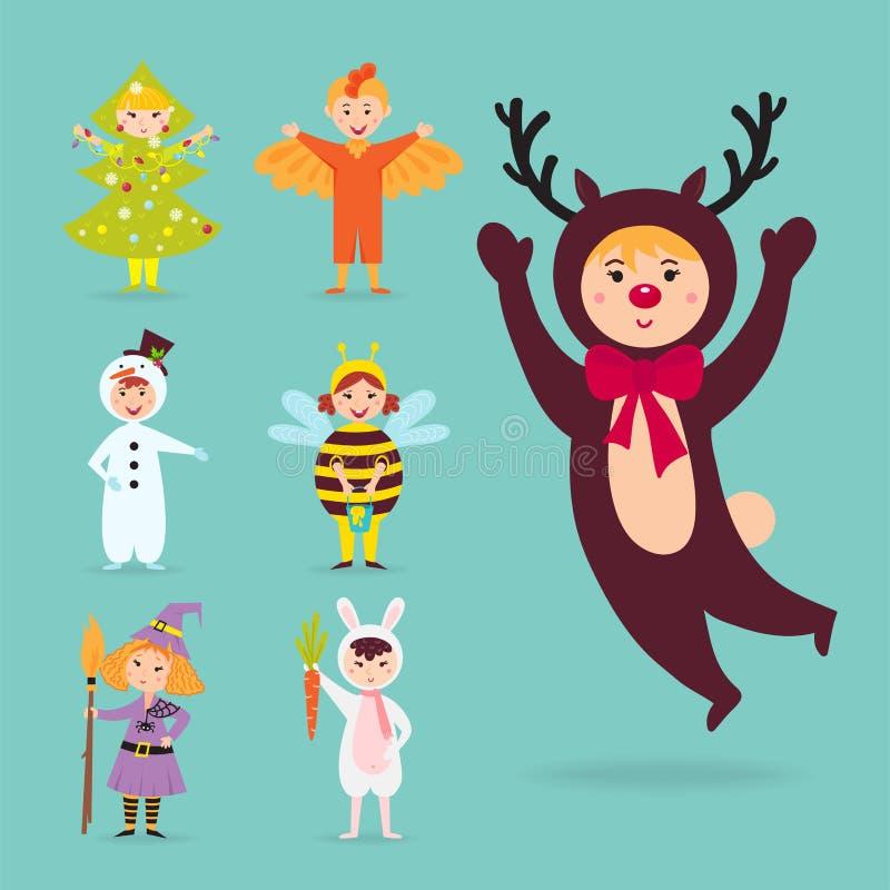 Śliczni dzieciaki jest ubranym Bożenarodzeniowych kostiumów charakterów wektorowych karłów odizolowywali rozochoconych dziecko wa royalty ilustracja