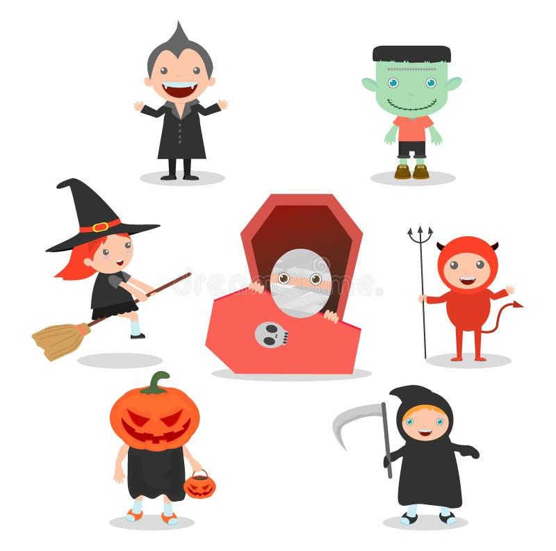 Śliczni dzieciaki jest ubranym Halloweenowego potwora kostium na białym tle, Szczęśliwy Halloween, Halloween przyjęcie ilustracji