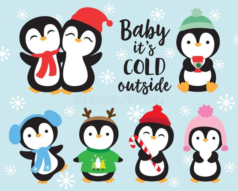 Śliczni dziecko pingwiny w zimie ilustracji