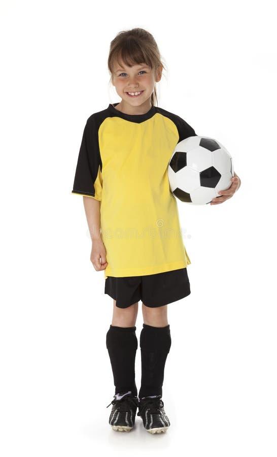 śliczni dziewczyny piłki nożnej potomstwa fotografia stock