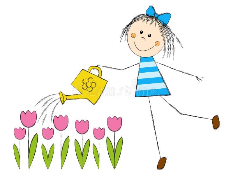 Śliczni dziewczyny podlewania tulipany ilustracji