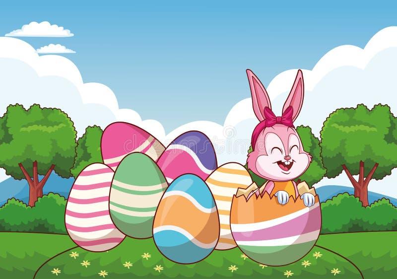 Śliczni Easter królika jajek natury tła kolorowi drzewa royalty ilustracja