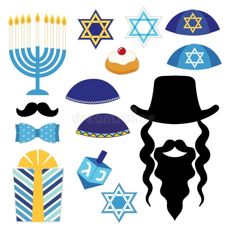 Śliczni fotografii budka wsparcia dla Hanukkah Chwyta wsparcie i uderza pozę