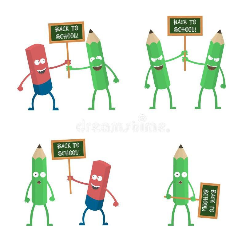Śliczni gumki i ołówka charaktery trzyma plakat Z powrotem szkoły wektorowa para ilustracji