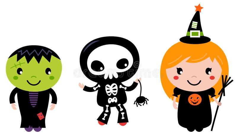 Śliczni Halloween dzieciaki royalty ilustracja
