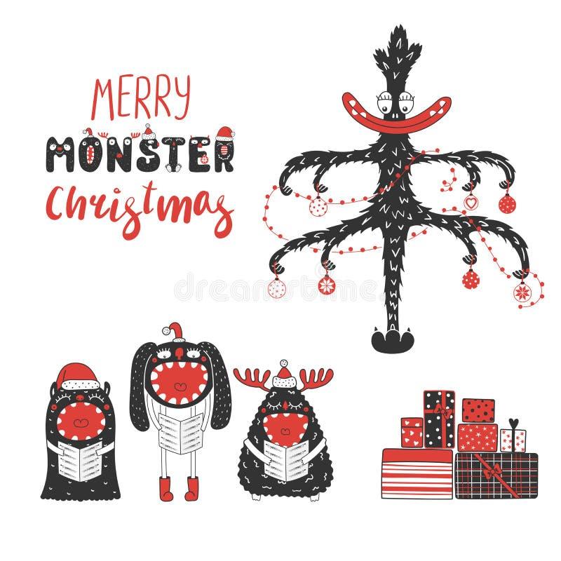 Śliczni i śmieszni Bożenarodzeniowi potwory royalty ilustracja