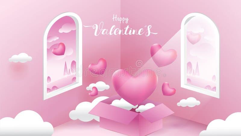 Śliczni i słodcy elementy w kształcie serce, pudełko prezenta latanie na różowym tle Wektorowi symbole miłość dla Szczęśliwych ko royalty ilustracja