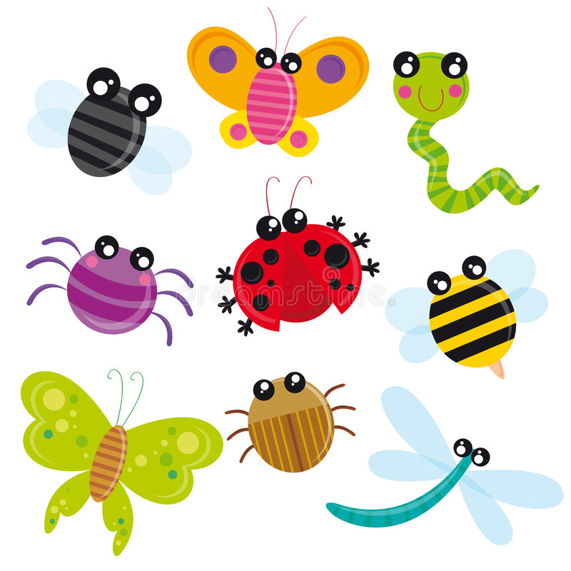 śliczni insekty royalty ilustracja
