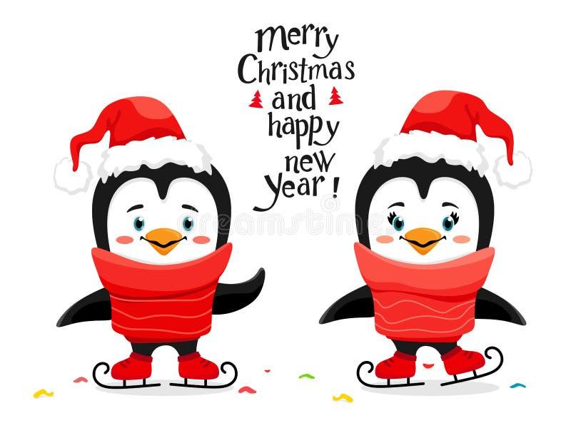 Śliczni jazda na łyżwach pingwiny z Santa kapeluszem w kreskówce projektują R?cznie pisany literowanie t?a ilustracyjny rekinu we ilustracji