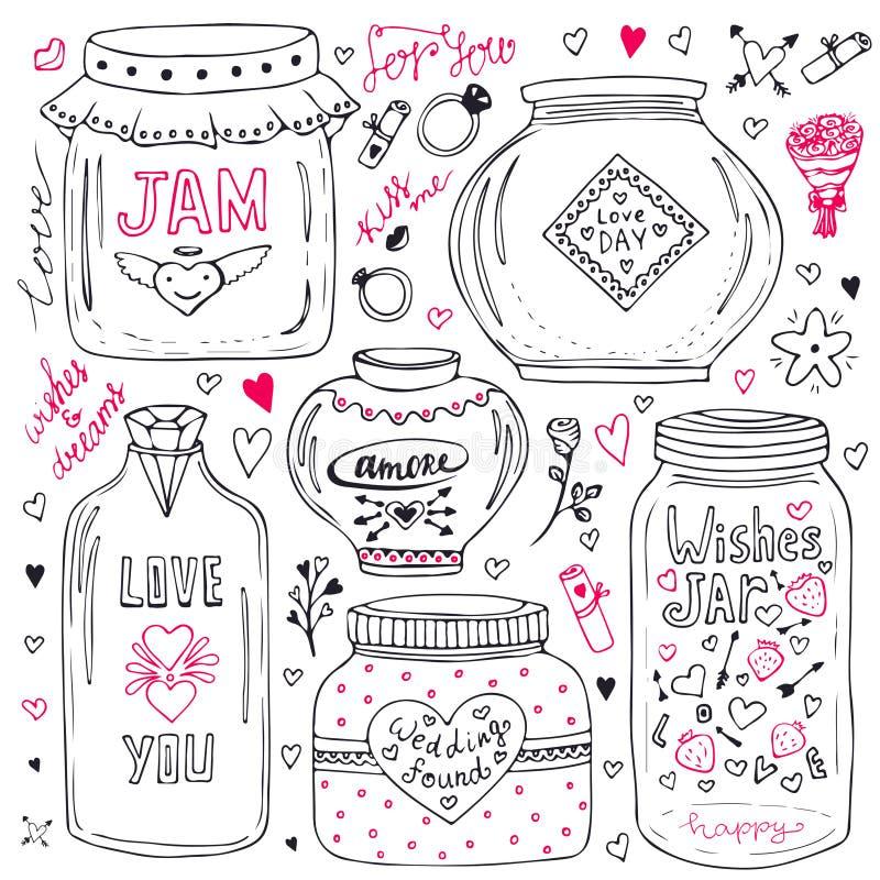 Śliczni kamieniarzów słoje ustawiający Walentynki wręczają patroszoną doodle kolekcję Wektorowy życzenie słój z literowaniem Miło royalty ilustracja