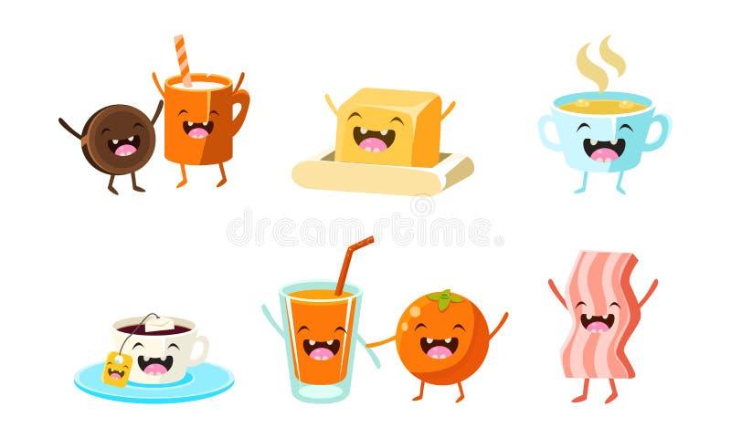 Śliczni karmowi i napoje charaktery ustawiają, śmieszny zdrowy śniadanie, sok pomarańczowy, baleron, herbata i filiżanka, masło,  ilustracji