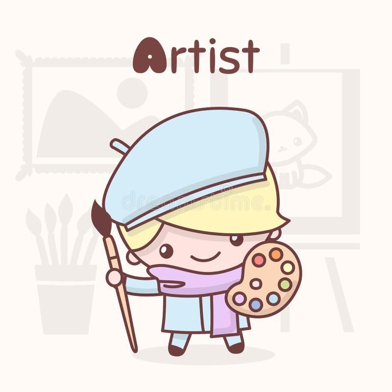 Śliczni kawaii charaktery Abecadło zawody Pisze list A - artysta ilustracja wektor