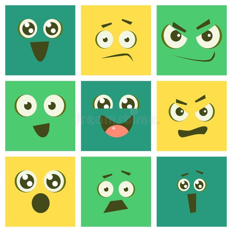 Śliczni Kawaii Emoticons Ustawiający, Emoji kwadraty z Śmiesznymi twarzami i Różna emocja wektoru ilustracja, ilustracji