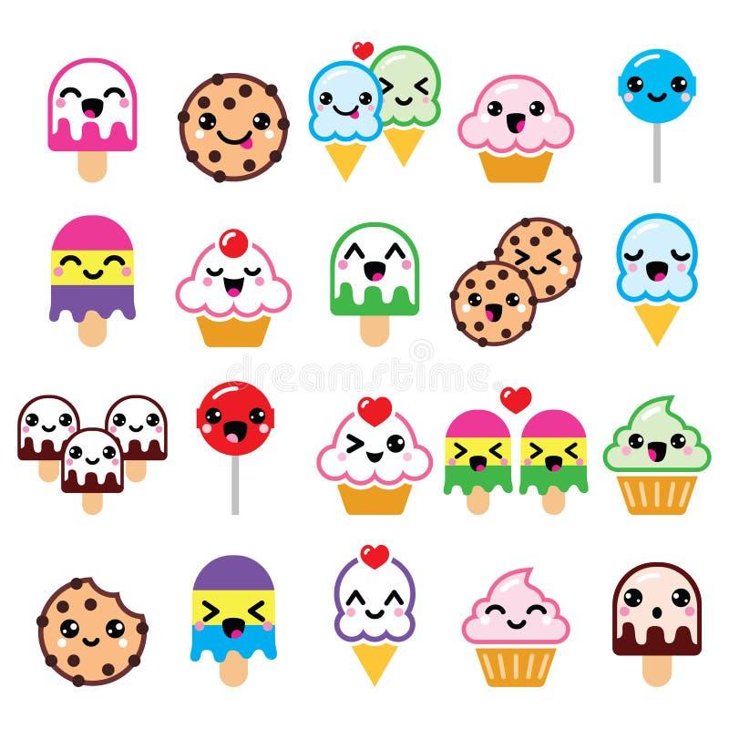 Śliczni Kawaii karmowi charaktery - babeczka, lody, ciastko, lizak ikony ilustracji
