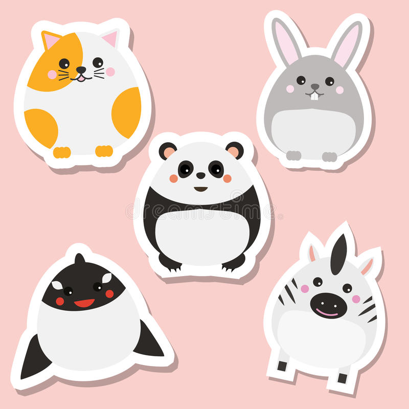 Śliczni kawaii zwierząt majchery ustawiający również zwrócić corel ilustracji wektora Kot, panda, królik, wieloryb royalty ilustracja
