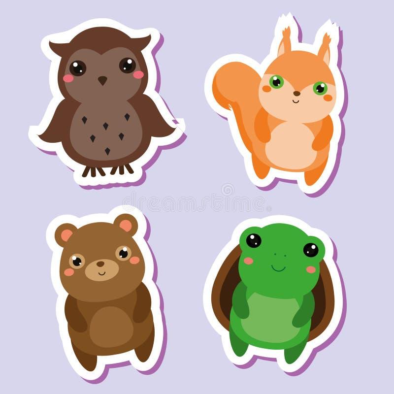 Śliczni kawaii zwierząt majchery ustawiający również zwrócić corel ilustracji wektora Sowa, wiewiórka niedźwiedź, żółw ilustracji
