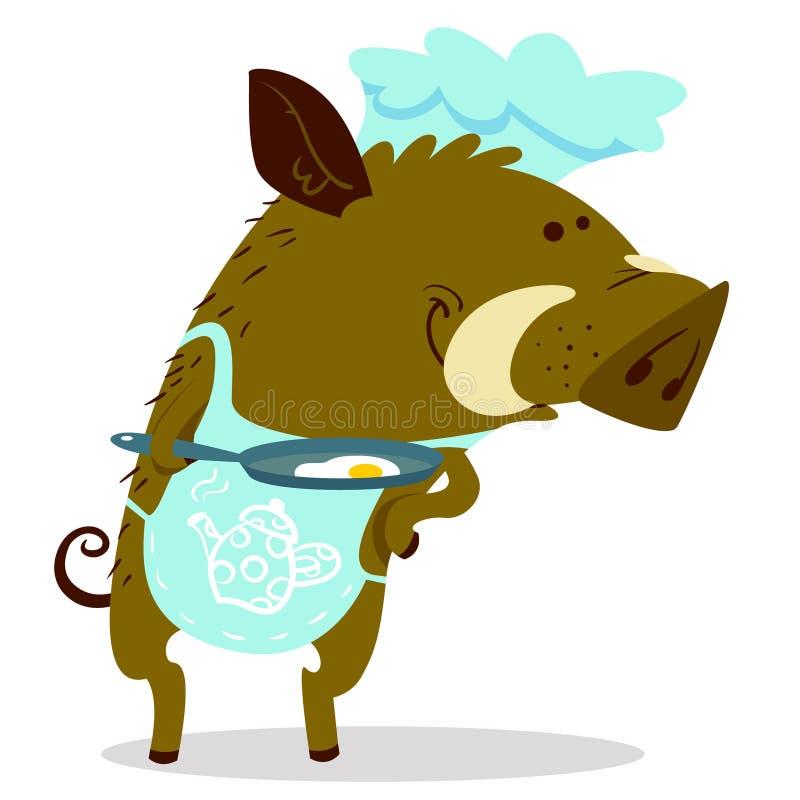 Śliczni knury lub warthog charakter jak kucharz Wektorowy ilustracyjny dowcip royalty ilustracja