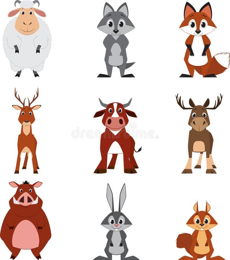Śliczni kolorowi egzotyczni zwierzęta inkasowi ilustracji
