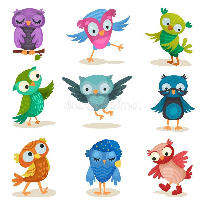 Śliczni kolorowi owlets ustawiają, słodkich sowa ptaków postać z kreskówki wektorowe ilustracje na białym tle ilustracji