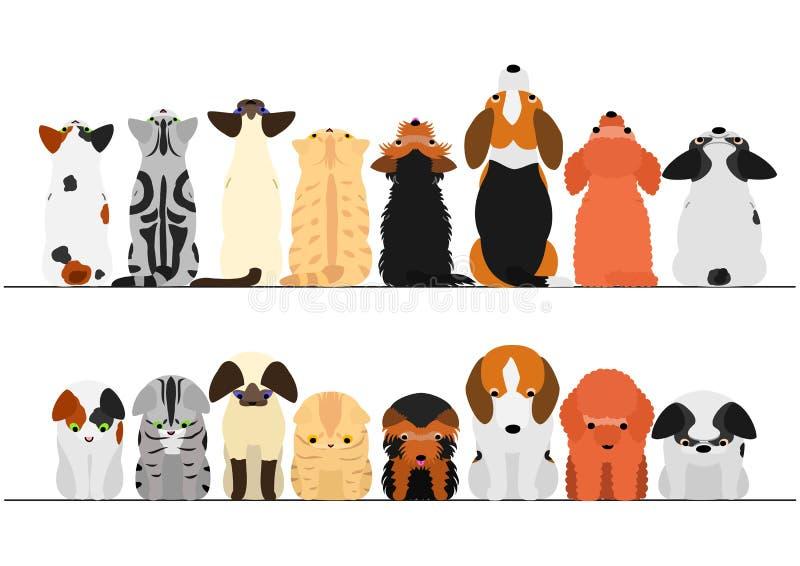 Śliczni koty i psy patrzeje w górę i na dół granica setu ilustracja wektor