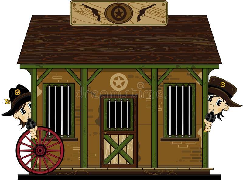 Śliczni Kowbojscy szeryfowie przy więzieniem ilustracji