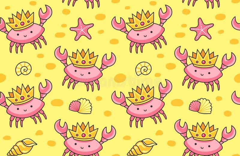 Śliczni kraby w złotych koronach na piaska tle ilustracji