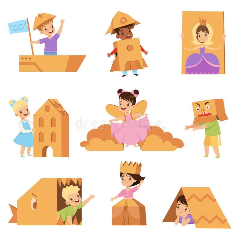 Śliczni kreatywnie dzieciaki bawić się zabawki i kostiumy robić karton ustalone wektorowe ilustracje na białym tle ilustracja wektor