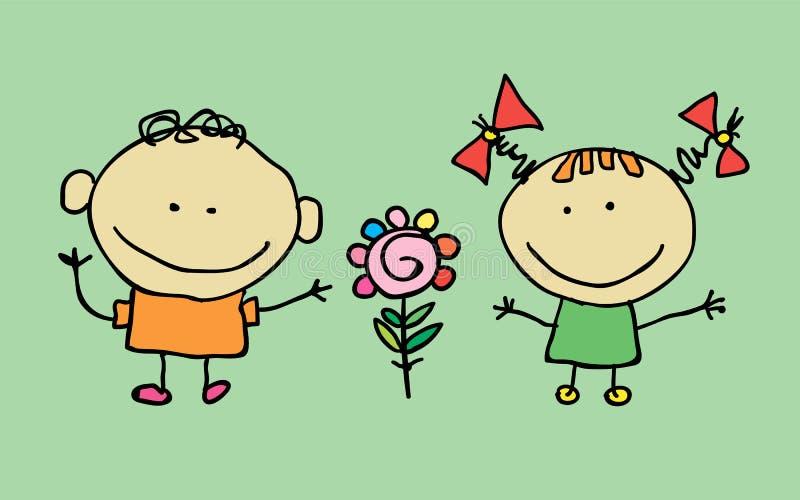 Śliczni kreskówek dzieci ilustracja wektor