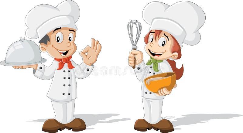 Śliczni kreskówek dzieci szefowie kuchni ilustracji