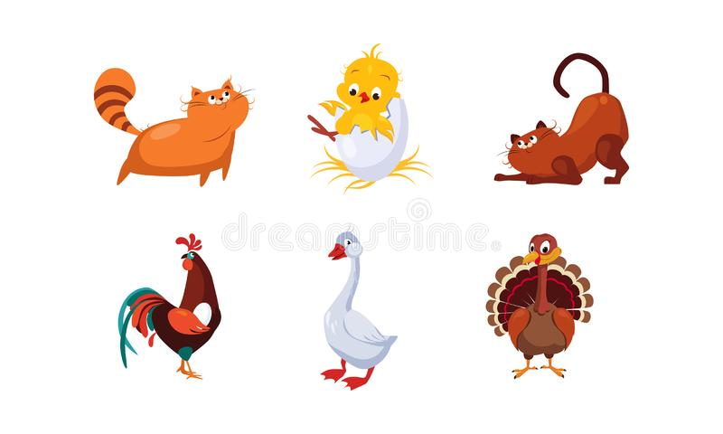 Śliczni kreskówek zwierzęta gospodarskie, zwierzęta domowe i ustawiają, koty, kogut, kurczak, indyk, gęsia wektorowa ilustracja ilustracja wektor