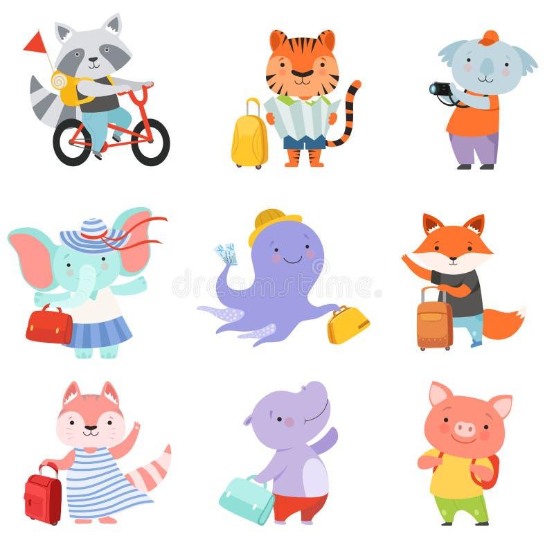 Śliczni kreskówek zwierzęta ustawiają, szop pracz, tygrys, coala, słoń, ośmiornica, lis, kot, mysz, prosiaczka podróżowanie na le royalty ilustracja