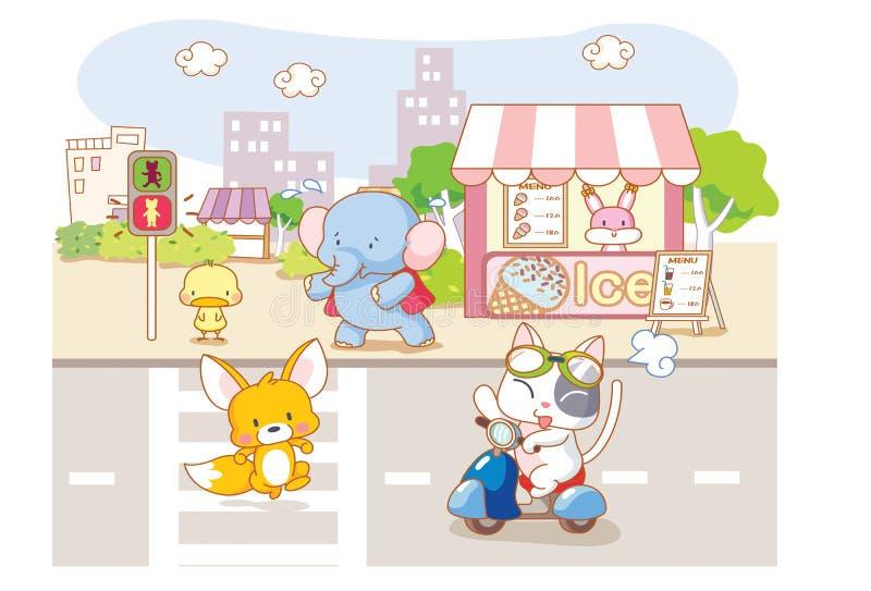 Śliczni kreskówek zwierzęta w mieście ilustracji