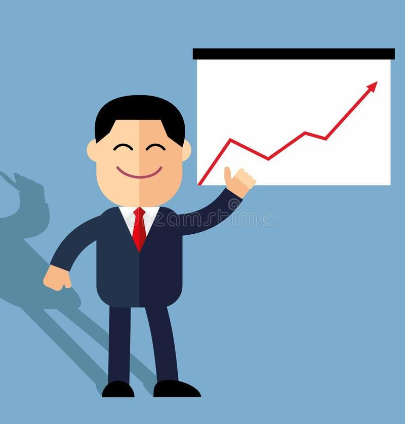Śliczni kreskówka biznesmena punkty wzrostowe statystyki Roczne statystyki ilustracji