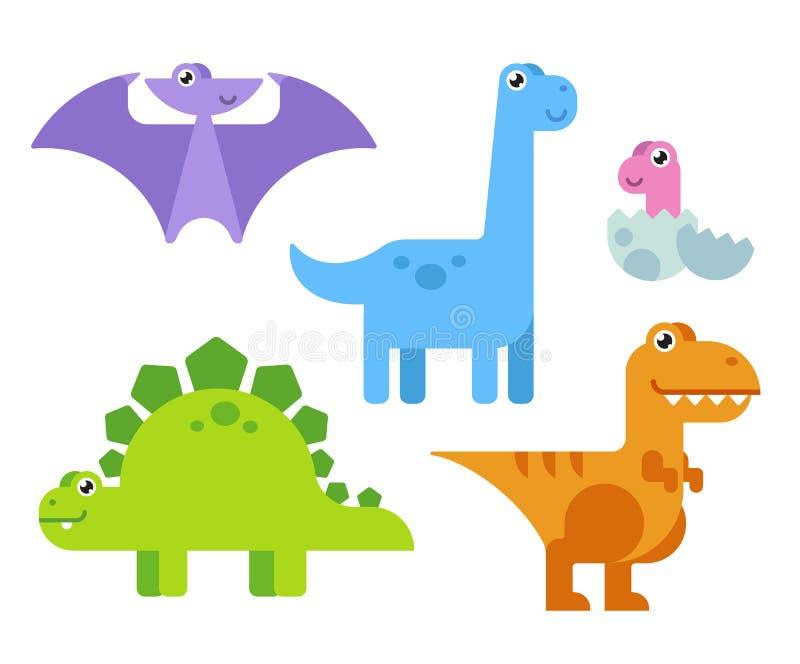 Śliczni kreskówka dinosaury royalty ilustracja