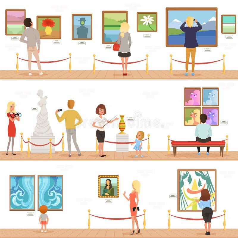 Śliczni kreskówka goście i przewdoników charaktery w muzeum sztuki Ludzie podziwiają obrazy i rzeźby w galerii ilustracji