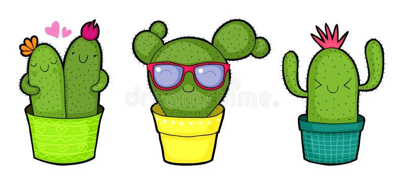Śliczni kreskówka kaktusy ilustracji