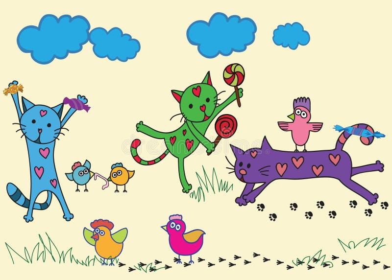 śliczni kreskówka koty zdjęcie royalty free